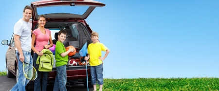 Happy family near new car  Camping concept background  Archivio Fotografico