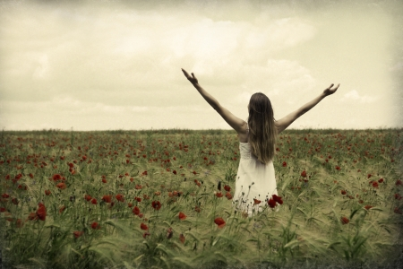 Happy beautiful woman in meadow. Freedom concept background.