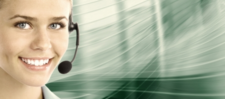 Beautiful  business woman with headset  Call center  Customer support  Helpdesk    Foto de archivo