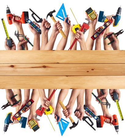 DIY tools set collage. Isolated on white background. Stok Fotoğraf
