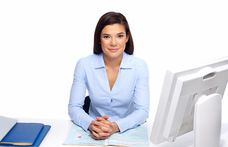 Beautiful business woman working with document in office.