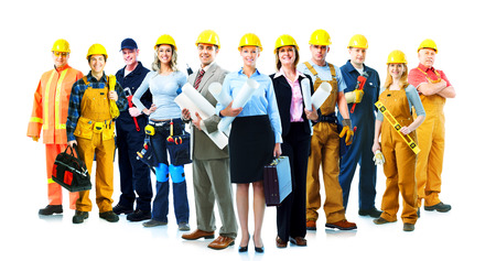 Construction workers group. Isolated over white background. Stock Photo