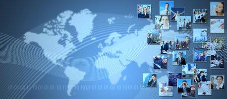 Negocios de fondo collage. Comunicación fondo de tecnología y medios de comunicación. Foto de archivo