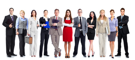 Group of employee people. Business team isolated on white background. Stock Photo