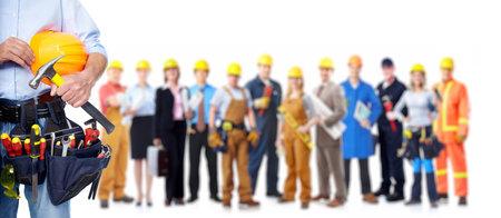 Arbeider met een tool gordel. Geïsoleerd over witte achtergrond. Stockfoto - 22871893