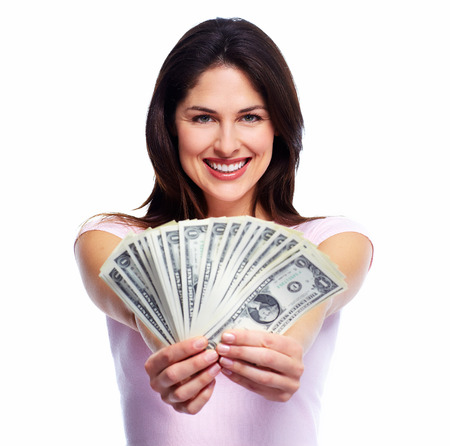 Happy young smiling woman holding cash, isolated over white background Stock fotó - 22934952
