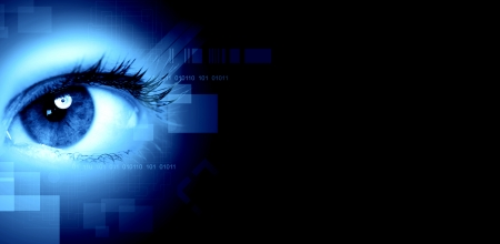 Human eye on technology design background  Cyberspace concept