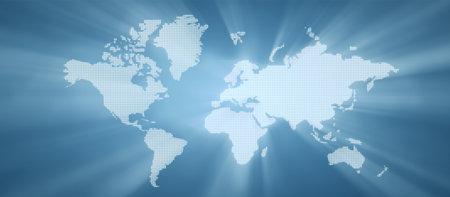 世界地図イラストをドットしました。グローバリゼーションのプラテンの背景。 写真素材