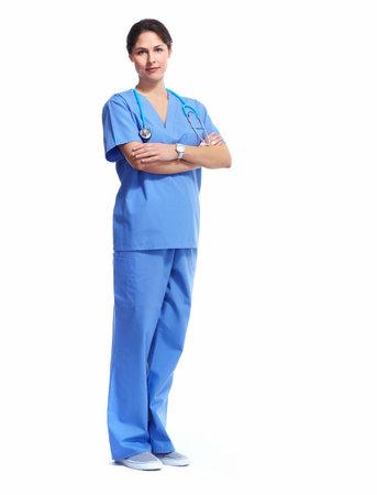 Nurse in uniform with stethoscope isolated on white background