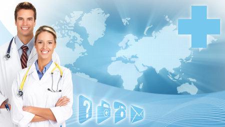 Medical doctors over scientific global blue background