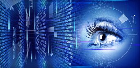 Menselijk oog op technologie ontwerp illustratie. Cyberspace concept.