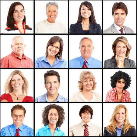 Mensen gezichten collage. Man en vrouw portret geïsoleerd.