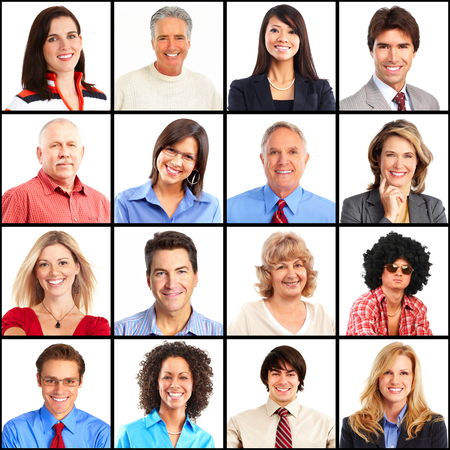 People faces collage. Man and woman portrait isolated. Stock Photo