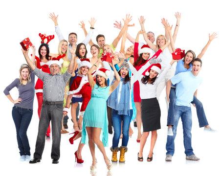 幸せなクリスマスの人々 のグループ。 写真素材