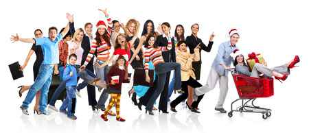 Happy funny people. Isolated over white background. Imagens
