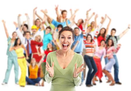 Un groupe de gens heureux de sauter isolé sur fond blanc Banque d'images