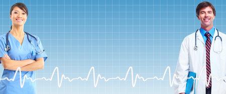 Groupe de médecins sur fond bleu de soins de santé Banque d'images - 23376389