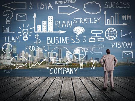 Zakenman kijken naar Innovation plan. Zakelijke achtergrond Stockfoto