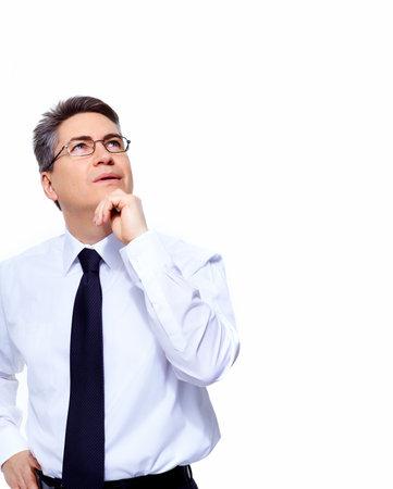 Geïsoleerd Knappe Zakenman denken oplossing witte achtergrond Stockfoto