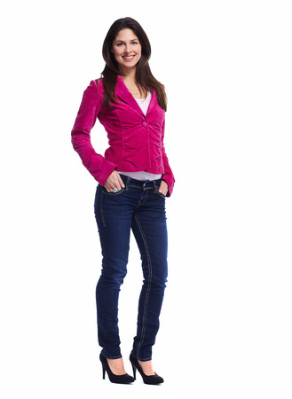 Young beautiful woman standing full over white background. Banque d'images