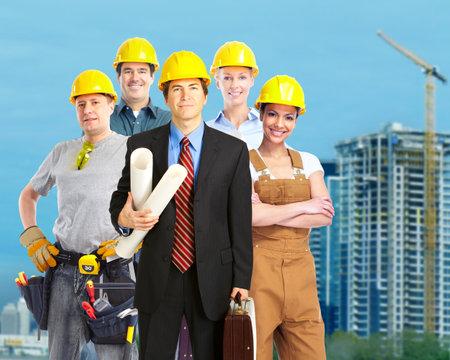 Groep van bouwers Bouwvakkers industrie achtergrond Stockfoto