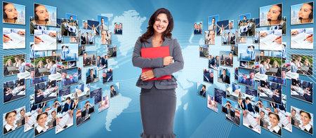 ビジネス ネットワークの大学。グローバリゼーションとテクノロジーの背景。