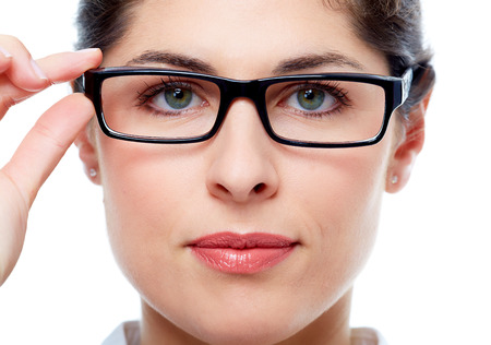 Beautiful Woman face with glasses. Vision background