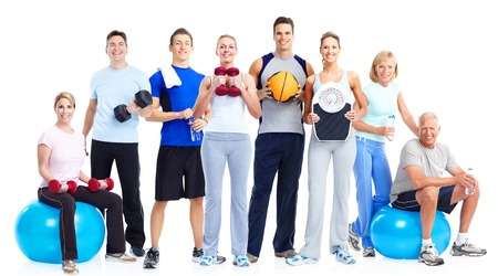 Group of fitness people  Isolated over white background