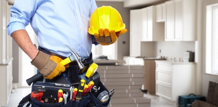 Handyman with a tool belt  Stockfoto