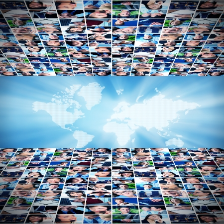 Business networking college Globalization and technology background Stock Photo