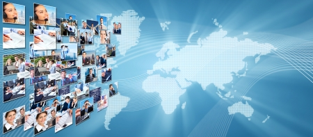 Business networking college  Globalization and technology background