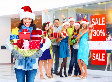 santa woman and group happy people with christmas gifts stock photo picture and royalty free image image 24137441