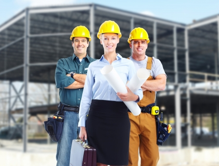 Group of builders workers  Construction industry background