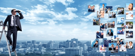 Business people banner collage background design  Success 스톡 콘텐츠