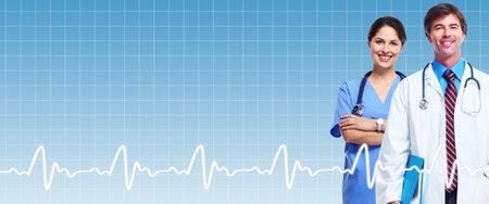 Groupe de médecins sur les soins de santé bleu Banque d'images - 24078892