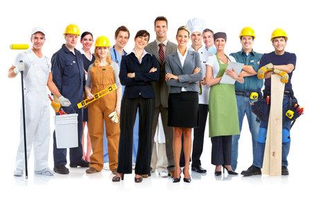 Groupe de gens de travailleurs isolés sur fond blanc Banque d'images - 27333630