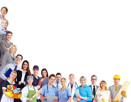 흰색 배경에 고립 근로자 사람들의 그룹