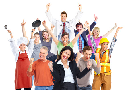 Group of happy workers people isolated on white background. Фото со стока