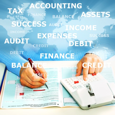 Hands of accountant with calculator and pen  Accounting background  Imagens