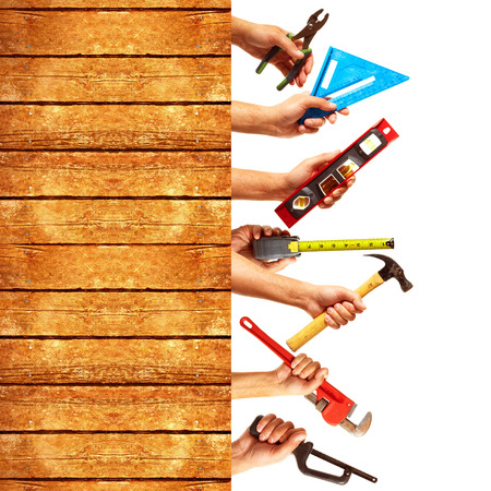 Set of construction tools. House renovation background. Imagens