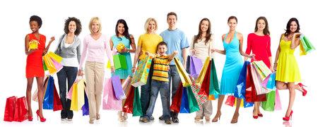 Schöne Frauen mit Einkaufstaschen. Standard-Bild