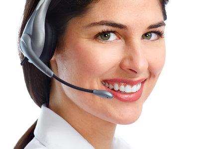 Operatore della donna con le cuffie. Archivio Fotografico - 34553410
