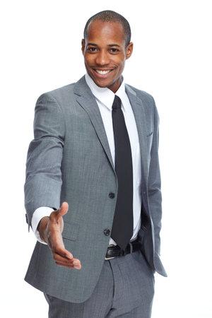 Afro-Amerikaanse zakenman handdruk. Stockfoto