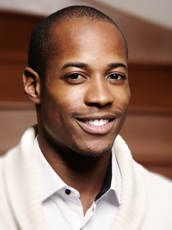 Afro-Amerikaanse zwarte man gezicht. Stockfoto