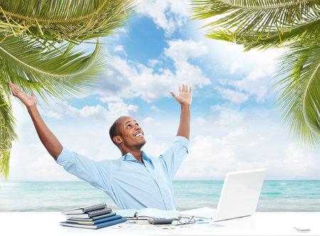 Relaxing black businessman. Reklamní fotografie - 34689297