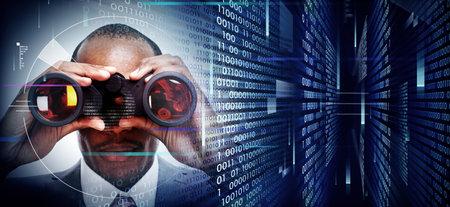 Man with binoculars on techno background