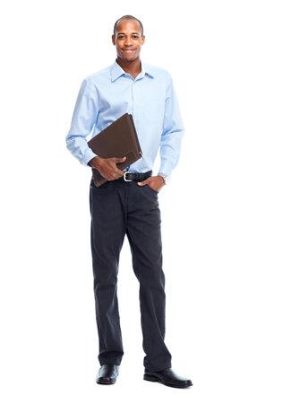 Afro-Amerikaanse zakenman geïsoleerd witte achtergrond. Student
