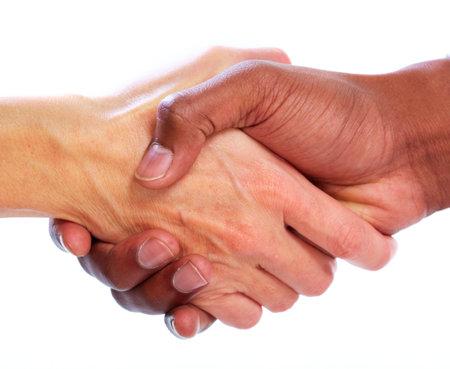握手。白い背景で隔離のビジネスマンの手