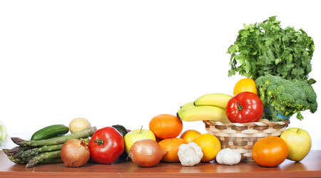Fruits and vegetables isolated white background. Healthy diet 스톡 콘텐츠