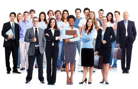 비즈니스 팀입니다. 노동자 사람들의 그룹 격리 된 흰색 배경